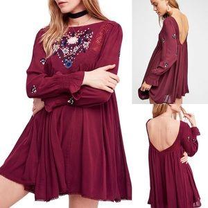 NWT Free People Mojave Mini Dress wine red L